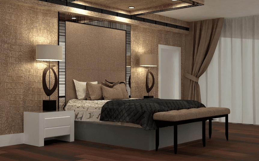 3D interior design rendering of a Master bedroom