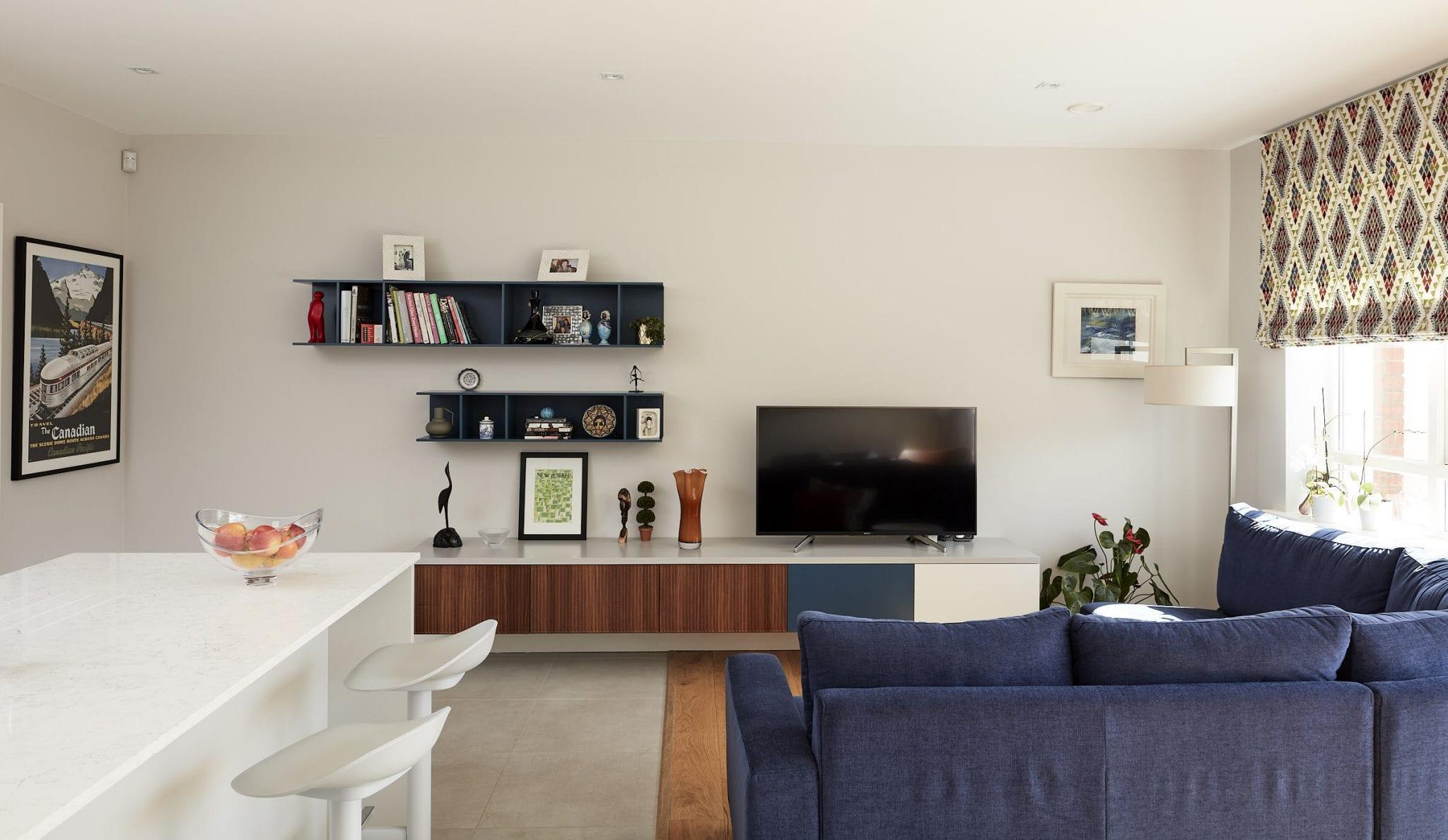 Open plan kitchen and living room design by Kitt Interiors, Interior Designer Dublin
