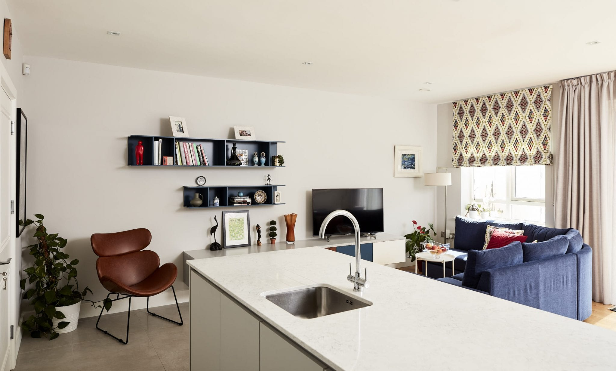 Area designated within the kitchen for tv viewing for a Dublin 3 interior design job.