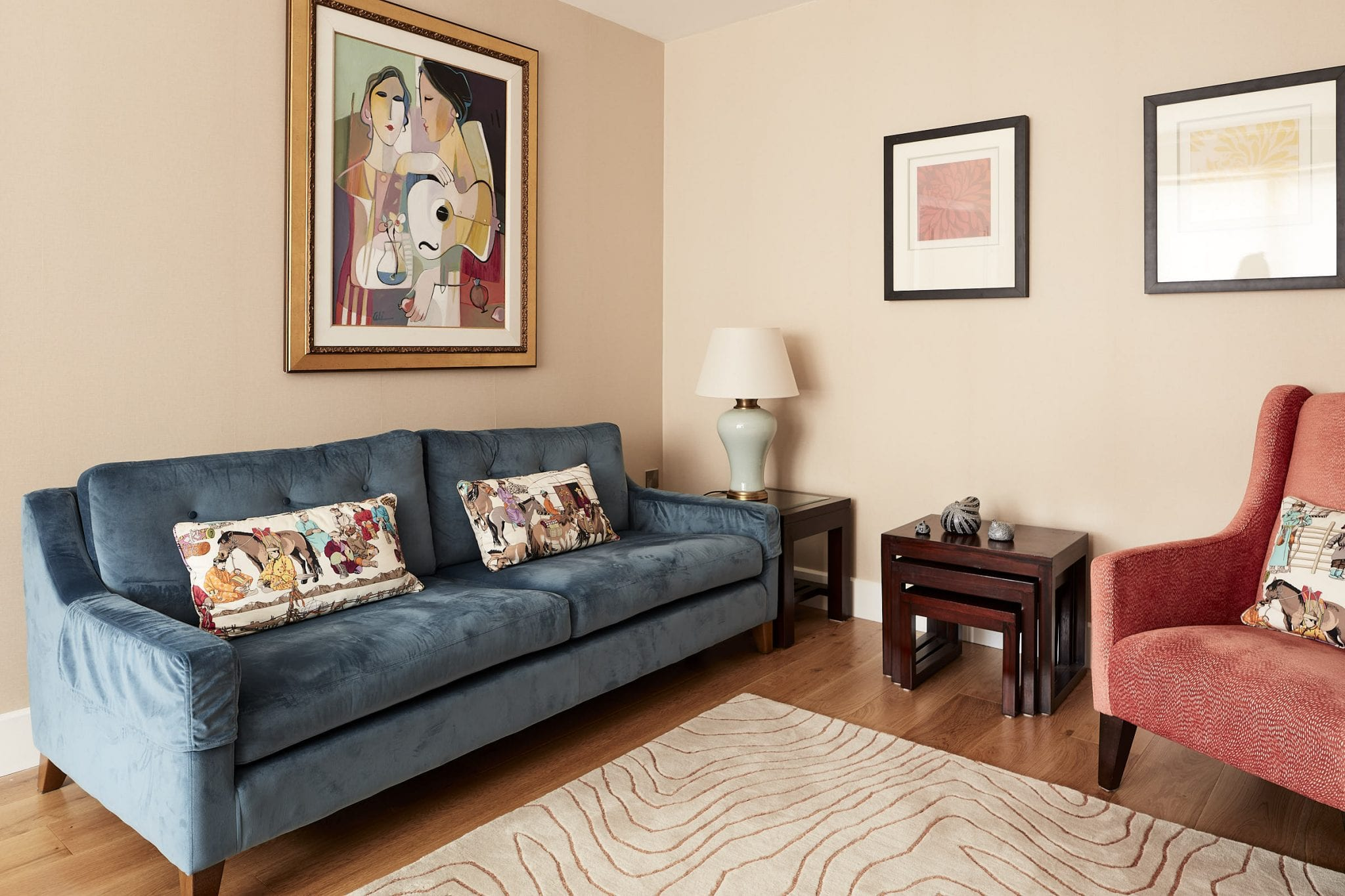 Formal sitting room colour scheme. Couch , armchairs, art, lights, for an interior design project in Dublin 3, Clontarf.