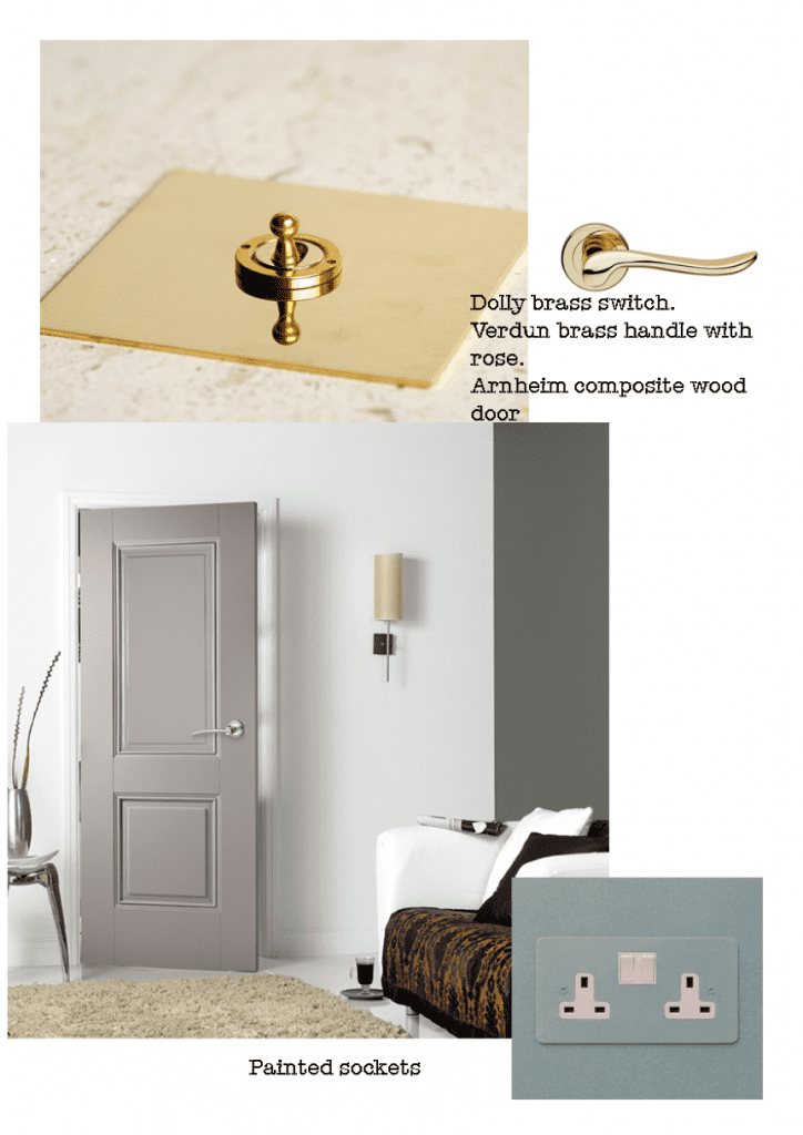 Interior design accessories mood board. Elegant and modern.