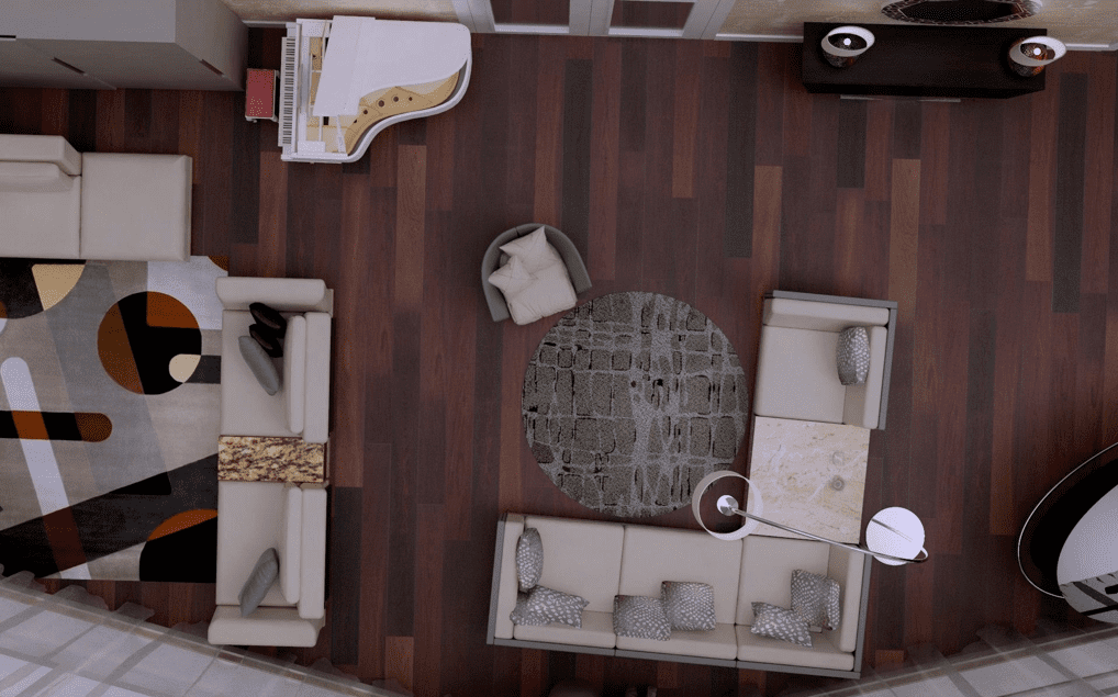 Elevated view of space planning with furniture and accessories in a London apartment, interior design render