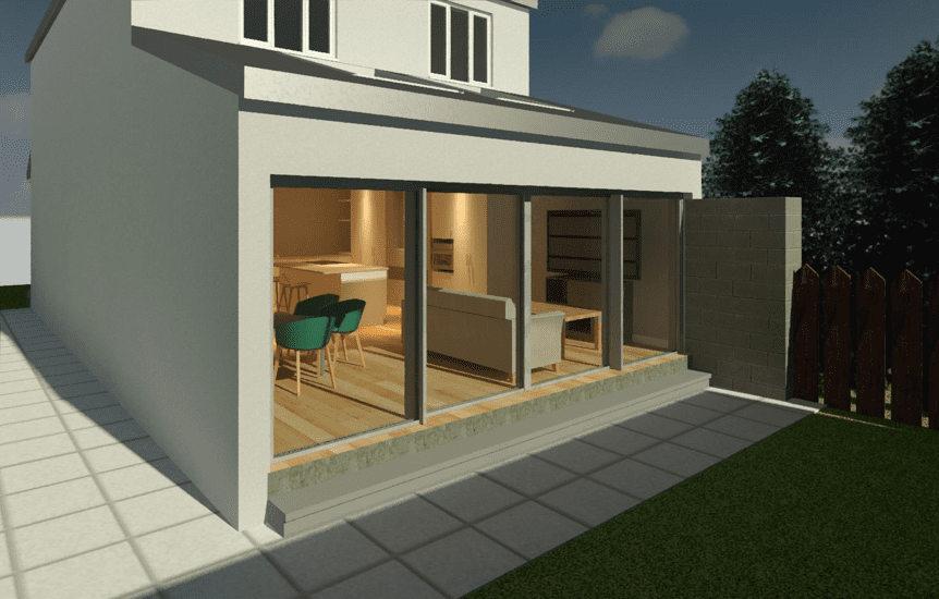 House extension design for open plan living and dining. Interior design CAD render