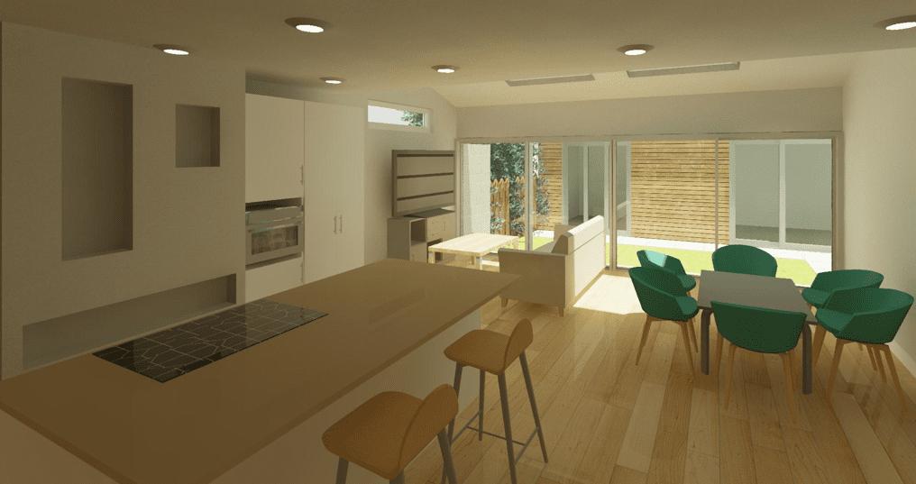 Open plan kitchen living design in Dublin 6, interior design render
