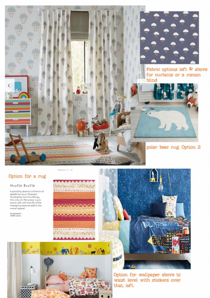 Soft furnishing interior design moot board for a children's bedroom