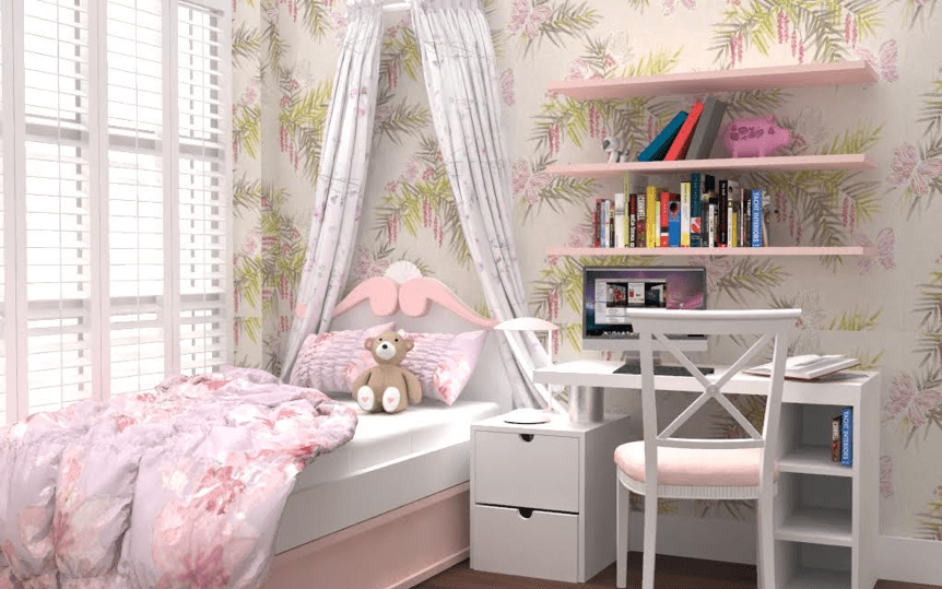 Space Planning, 3D interior design imagery of a girls bedroom