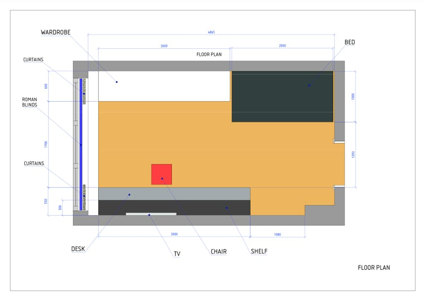 Space planning, floor plan of a boys bedroom as part of an interior design project